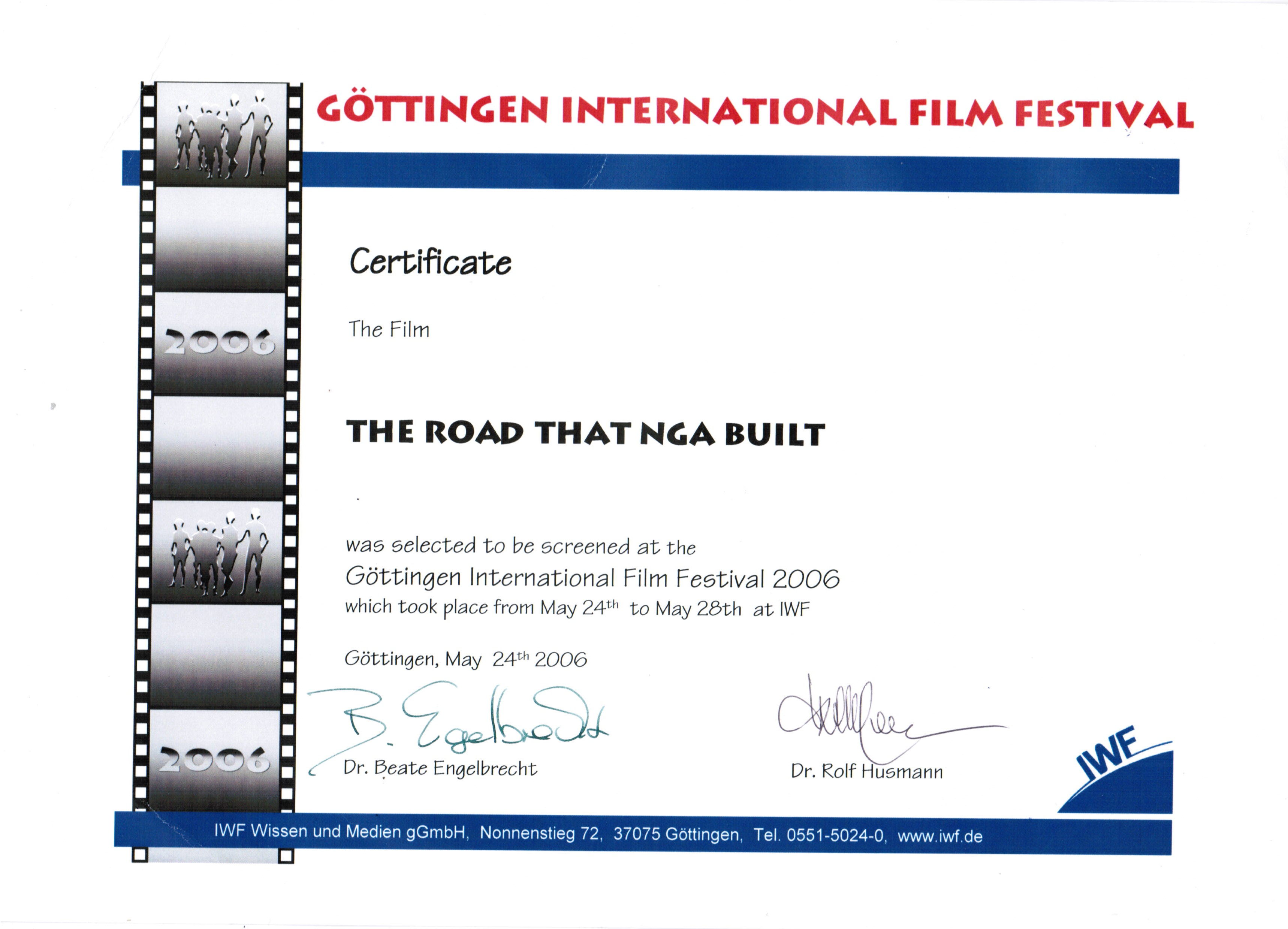 Сертификат Gottingen International Ethnographic Film Festival